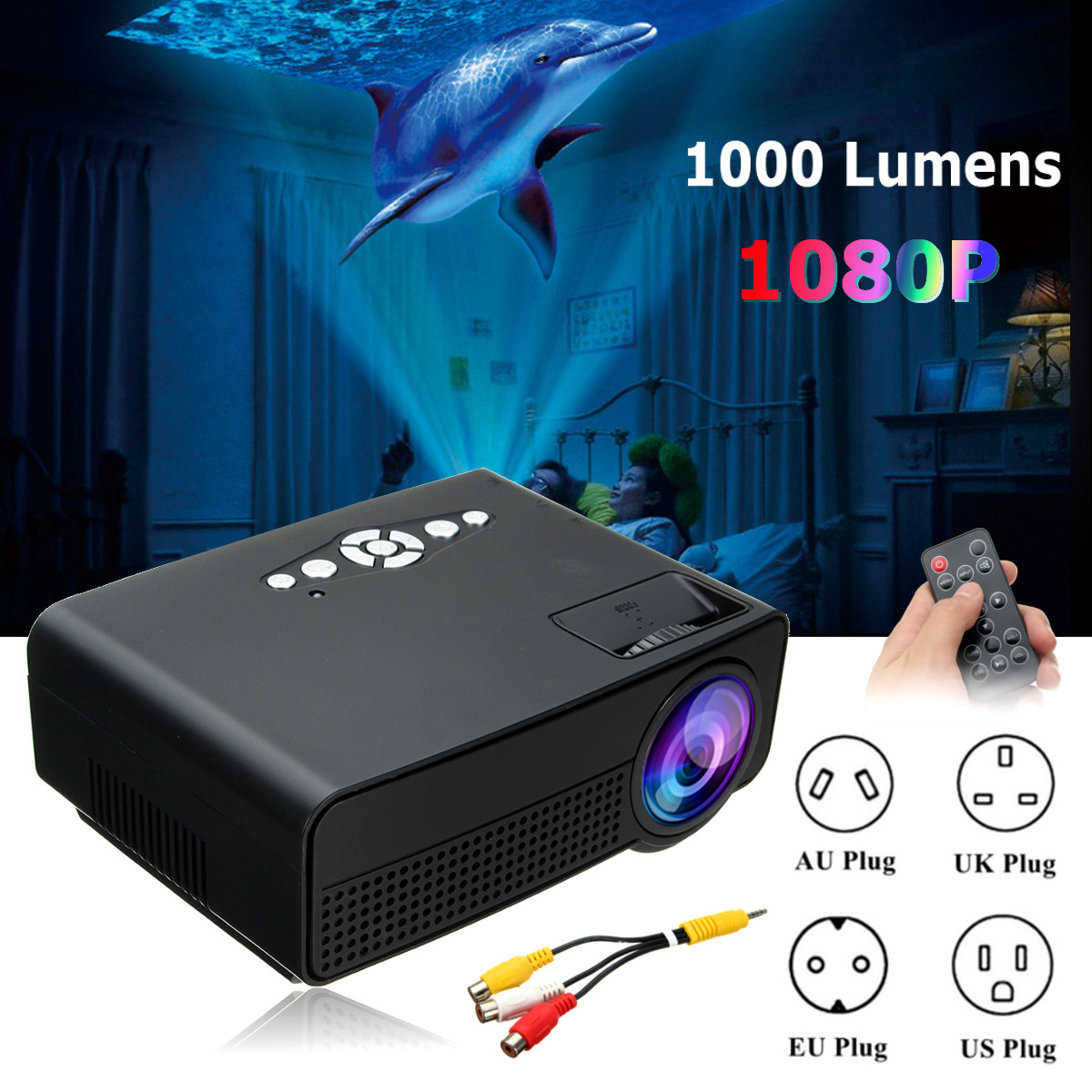 H60 Portable 7000 Lumens HD 1080P 3D Multimedia Projector LED Home Theater HDMI USB Home Theatre System