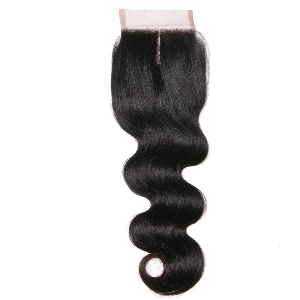Человеческие волосы продукты средней части закрытия Реми волос естественного цвета тела волны 4X4 Кружева закрытия