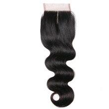 Fechamento do laço da onda 4x4 do corpo da cor natural do cabelo de remy do fechamento da parte média dos produtos do cabelo humano
