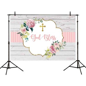 Image 3 - Allenjoy photography background pink communion birthday stripe gold frame flower backdrop Kid Event Party photocall photo studio