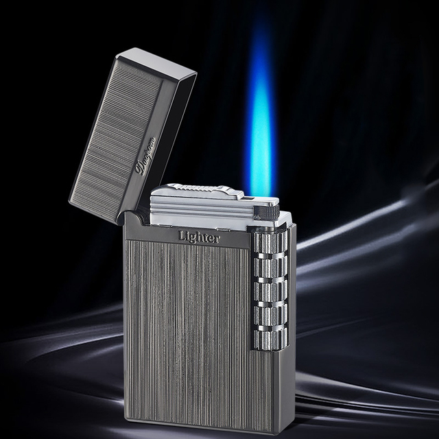 New 2021 Loudly Gas Lighter Square Metal Sideslip Mini Lighters Flint Cigarette Lighters Smoking Accessories Gadgets for Men 3