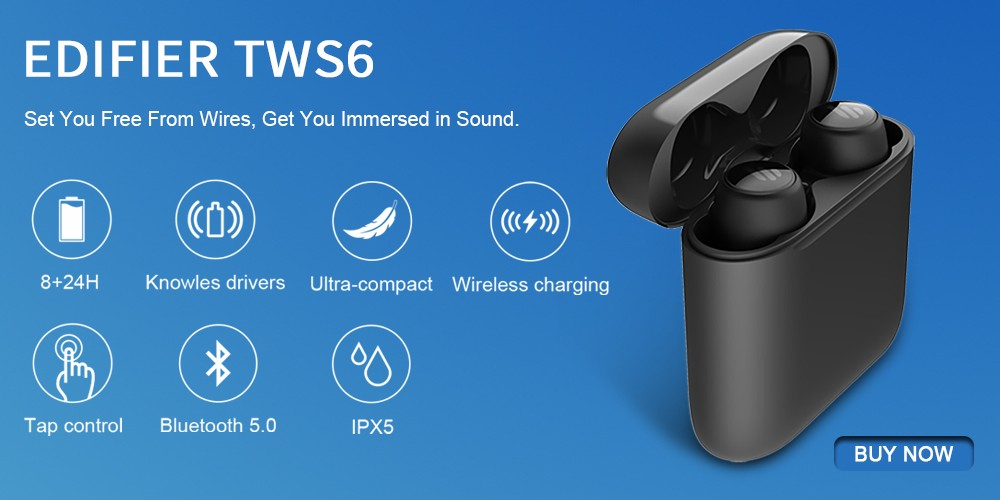 Edifier Tws6 Tws Wireless Charging Earbuds Aptx Bluetooth V5 0 Tap Control Ipx5 Waterproof Wireless Earphone Up To 32hr Intkart Delivering Happiness