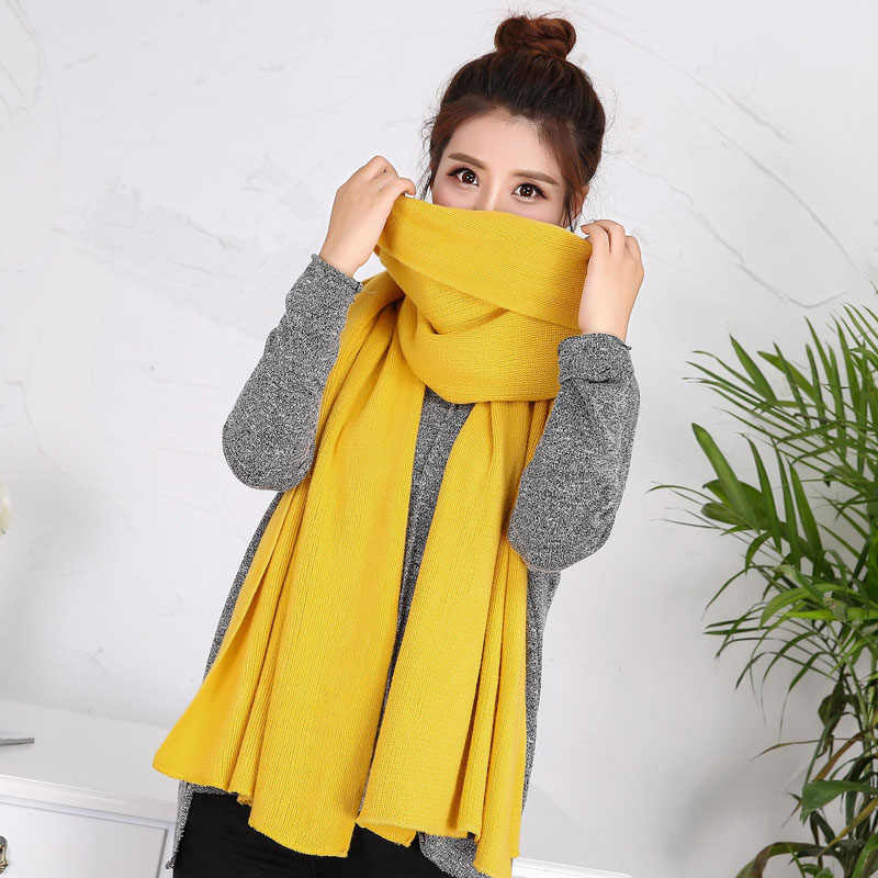 Hot Sale Popular High Quality Long Warm Scarf Women Winter Knitted Unisex 2020 New 1PC Solid Men Thick