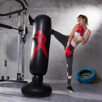 Boxing Punching Bag Inflatable Free Stand Tumbler Muay Thai Training Pressure Relief Back Sandbag with