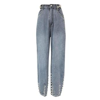 New Spring autumn Korean fashion heavy work beaded jeans women high waist loose straight denim pants r575 Straight Jeans