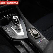 Alcantara multimídia carro botão painel capa para bmw f20 f21 f22 2012-2019 acessórios m desempenho guarnição molding interior do carro