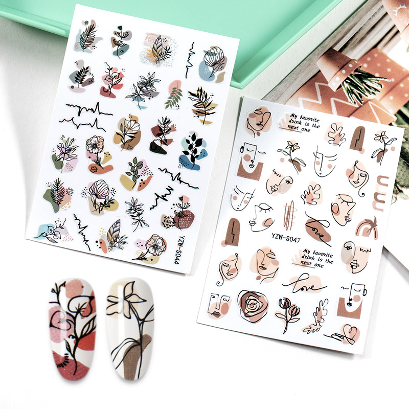 3D Nail Stickers Flower Graffiti Abstract Sexy Woman Face Design Adhesive Nail Art Decor Foil Slider Manicure Stickers For Nails