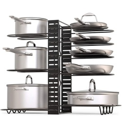 Stainless Steel Pan Organizer Holder Cutting Board Shelf Extendable Adjust Cookware Pot Rack for Kitchen Organization Storage