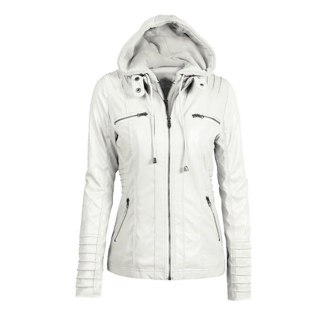 Женская куртка с капюшоном модного покроя куртка из эко кожи 4