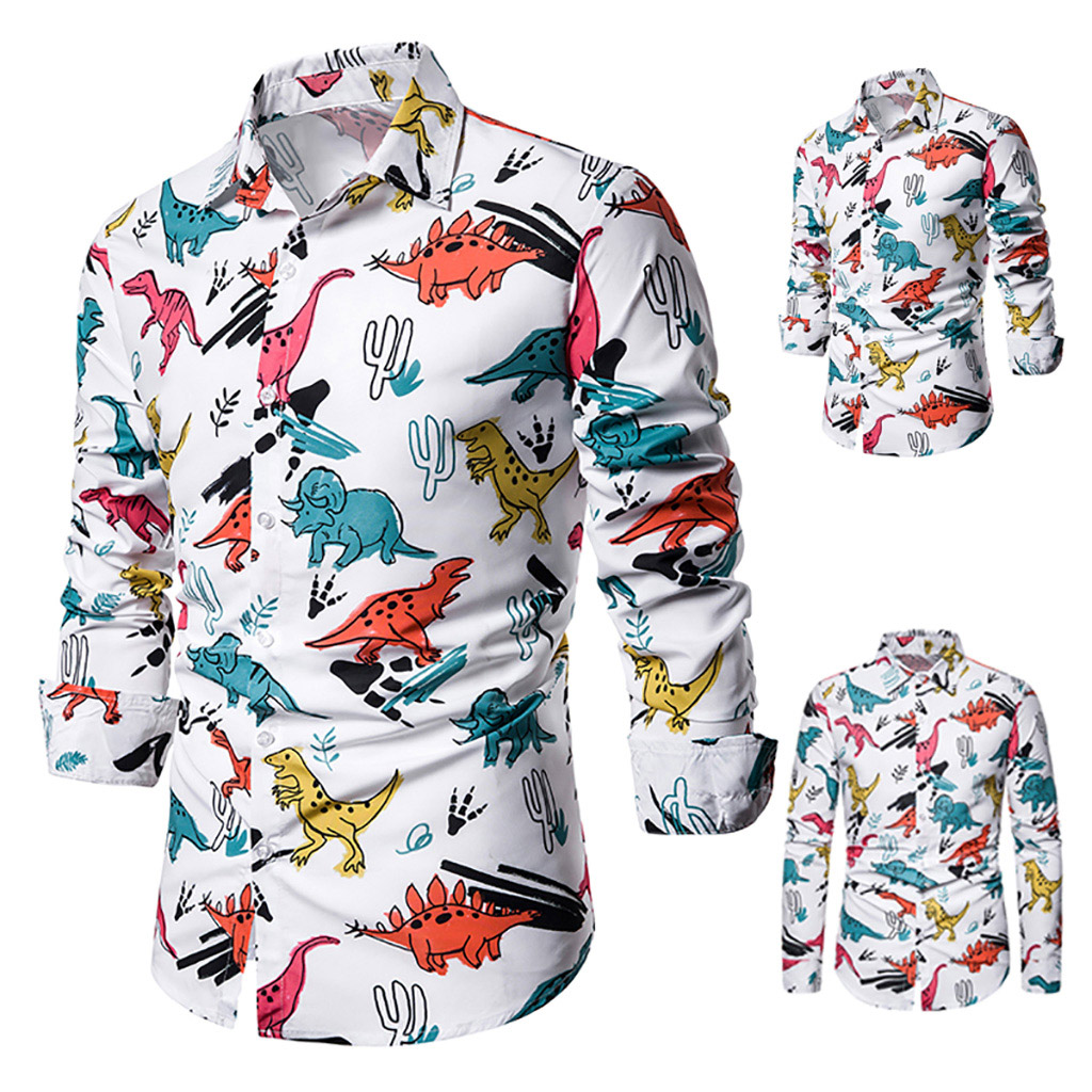Dihope Casual Cartoon Dinosaur Printed Shirts Men Tops Long Sleeve Turn-down Collar Harajuku Shirt Autumn Camisas Masculina