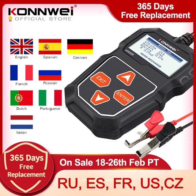 KONNWEI probador de batería de coche KW208, 12 V, 100 a 2000CCA, Analizador de batería de circuito de carga, herramientas de batería de 12 voltios