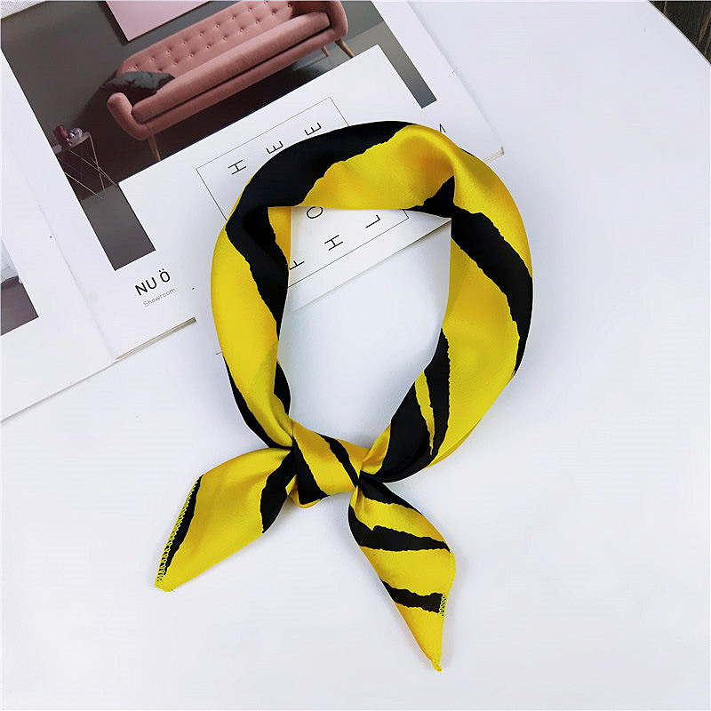 New 50*50CM Hair Scarf Tie Animal Print Luxury Satin Small/Square/silk/Neck/Ring/Scarf Winter Head Scarf For Women Neckerchief