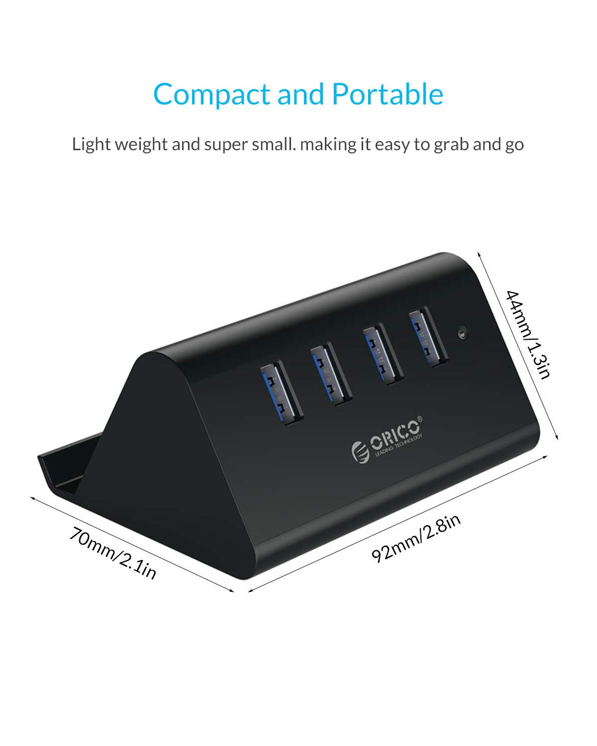 2.0 HUB For Phone Tablet PC Laptop ORICO 5Gbps High Speed Mini 4 Ports USB 3.0