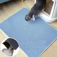 Waterproof Pet Cat Litter Mat Foldable EVA Double Layer Trapping Pets Pad Bottom Non-slip Floor