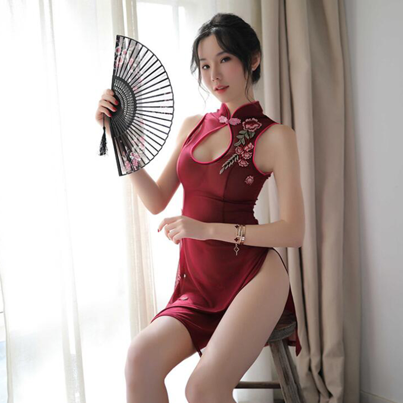 Sexy <font><b>Chinese</b></font> Cheongsam Lingerie Erotic Underwear <font><b>Dress</b></font> For <font><b>Sex</b></font> Transparent Babydoll Costumes Adult image