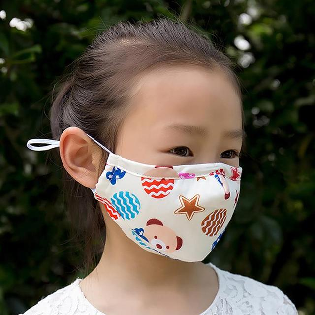 1pc Mouth Masks Cartoon Printing Dustproof Breathable PM2.5 Kids Cotton Mouth Face Nose Mask Cover Anti-Dust Random Color 5
