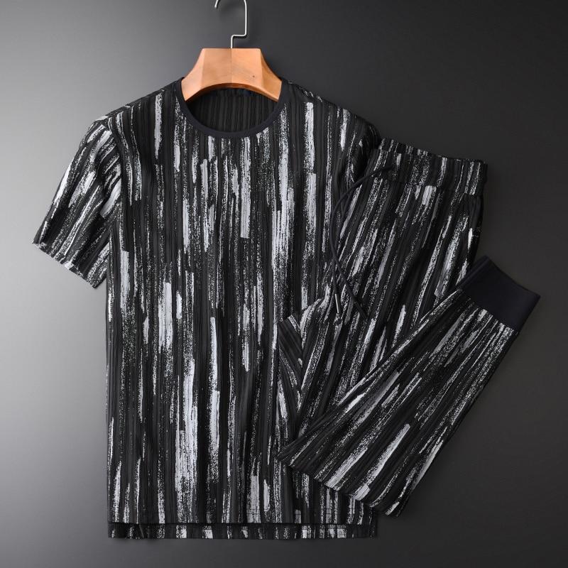 Social Man (T-SHIRTS+PANTS ) Luxury Summer Round Collar Short Sleeve Mens Sets Plus Size 4XL Elastic Waist Pants