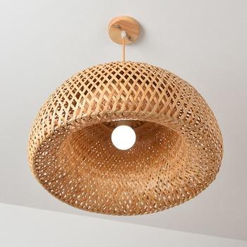 Nordic Pendant Lamp  Wooden Pendant Weaving Bamboo Hanging Lamp Retro Garden Restaurant Study Bedroom Living Room Lamp lightIing 5