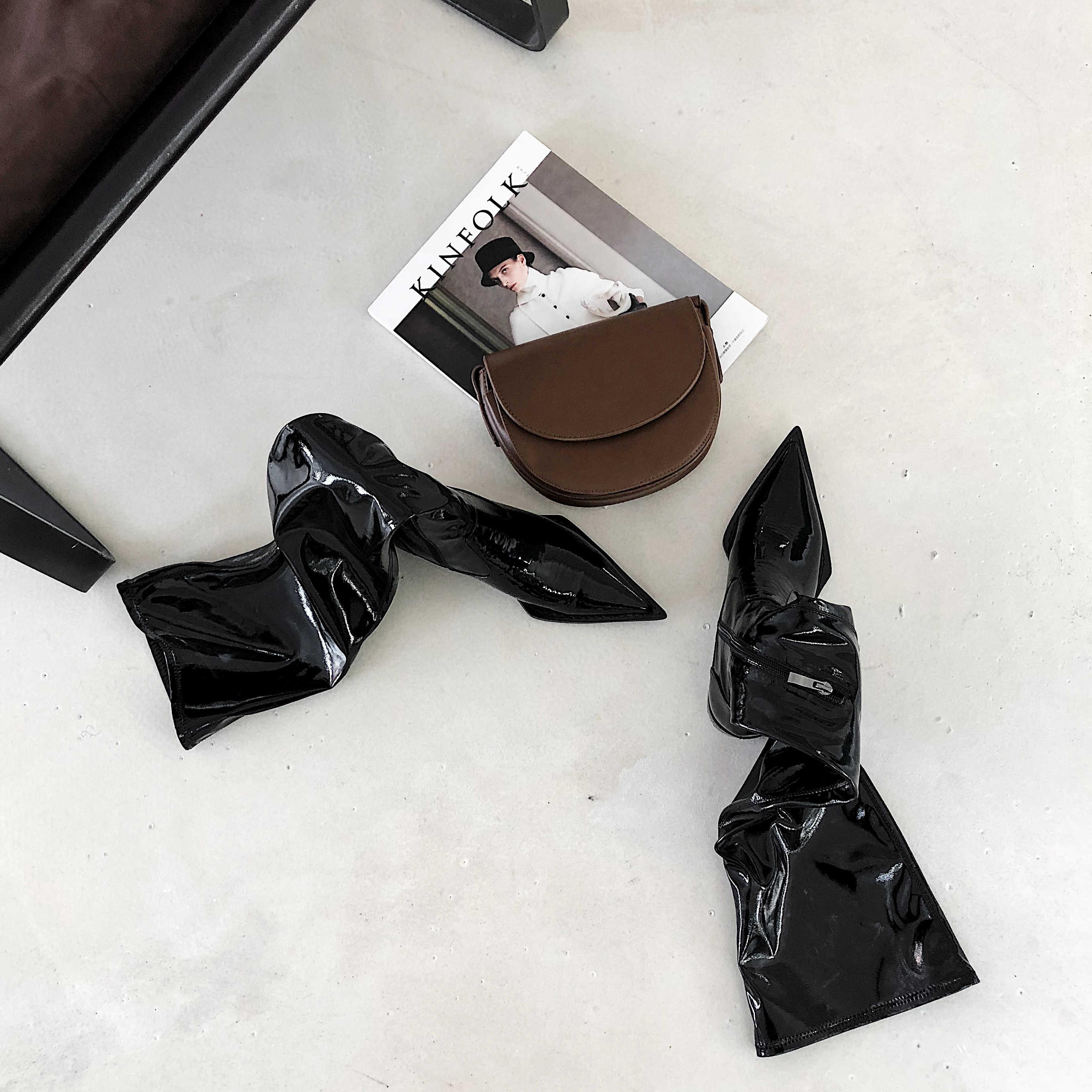 Lenkisen heißer kuh leder hohe qualität zipper spitz med heels koreanische mädchen einfache design frauen plissee oberschenkel hohe stiefel l61