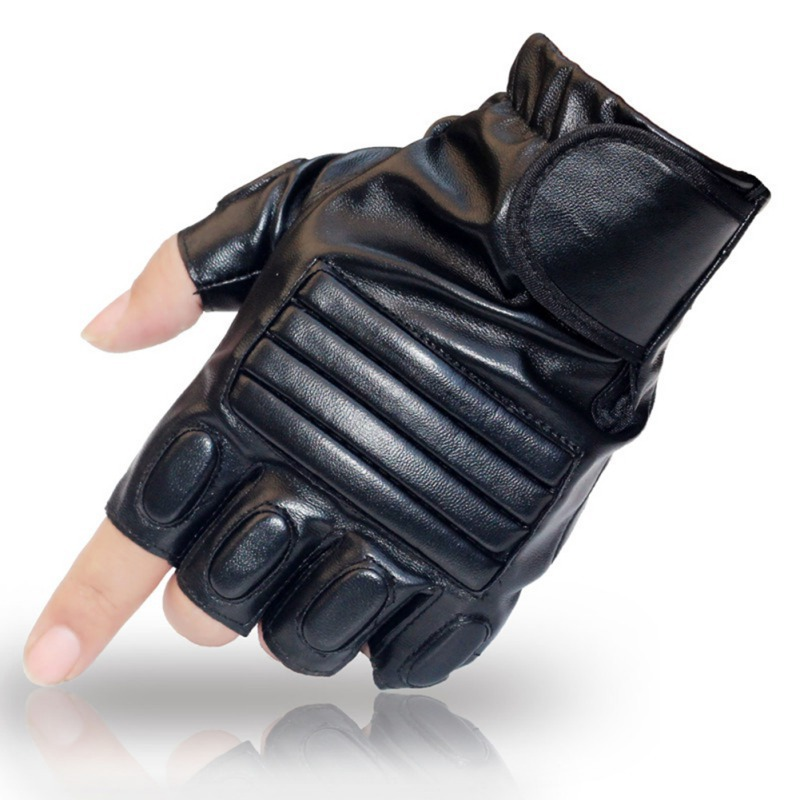 Men Black PU Leather Tactical Glove Army Military Sport Gym Fitness Cycling Glove Half Finger Driving Glove