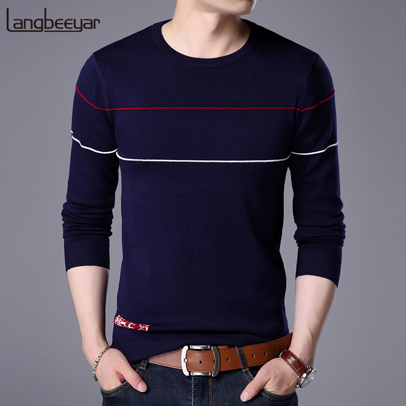 2019 New Fashion Brand Sweaters Men Pullover Woolen Slim Fit Jumpers Knitting Striped Winter Korean Style Casual Men Clothes