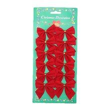 12 шт./лот, украшение для рождественской елки, бант, украшения для рождественской елки, бант, Рождественская бабочка, пояс