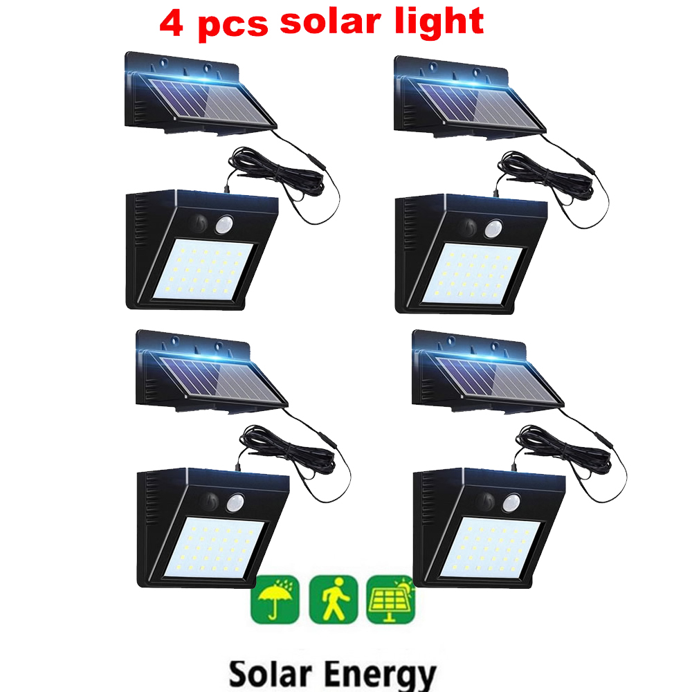 2/4pcs 100/56/30 LED Solar Lamp Waterproof Solar Night Light Motion Sensor Porch Path Street Fence Garden Stairs Wall Corridor E