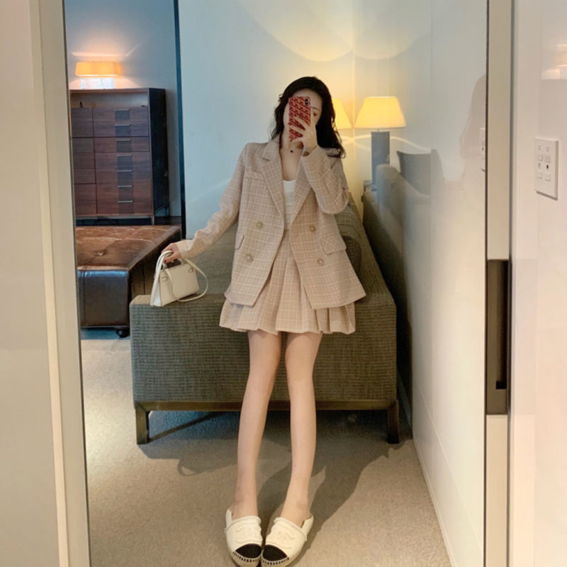 Jackets And Blazers Women Suit Plaid Pink Grid Blazer Ladies Coats  Skirt Of Tall Waist Fashion Two-piece Outfit Fashion Suits