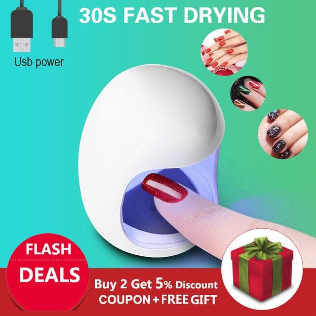 ביצת צורת 3W UV LED מנורת עבור אחת ציפורן אצבע מנורת מסמר ג ל פולני מייבש ייבוש מכונה חכם חיישן 45s / 60s USB מחבר