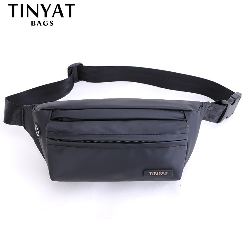 TINYAT Men Waist Packs Waterproof PU Belt Pack Bag Outdoor Sports Fanny Bag Pack Casual Travel Male Bum Beltbag Men Hip Bag