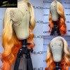 Vücut dalga HD şeffaf Ombre 613 sarışın tam turuncu zencefil 13X6 dantel ön İnsan saç peruk sarı ön koparıp peruk frontal tutkal