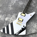 Guitarra Eléctrica personalizada de tienda personalizada, nuevo 2020 hit, rayas blancas, negras, logotipo, color y forma se pueden personalizar.