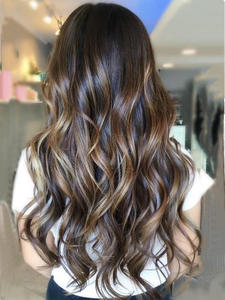 Moresoo Hair-Extensions Highlighted Human-Hair-Machine Remy-Hair Brown Tape-In with -27