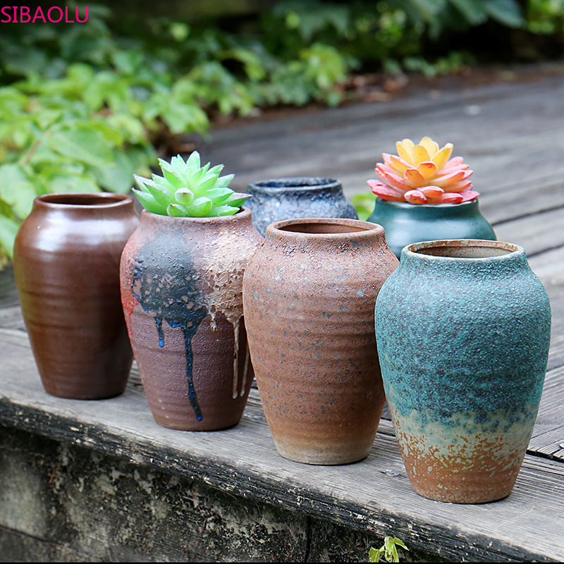 Ceramic Flower Pot Large Round Succulent Rust Old Pile Flower Pot Breathable Retro Creative Potted High Mouth Flower Pot