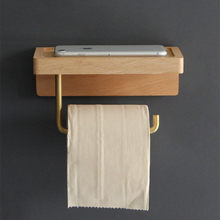 Brass Toilet Paper Holder Wall Mounted Wooden Phone Holder Rack Bathroom Roll Paper Holder Hanger Wall Shelf for Toilet Storage
