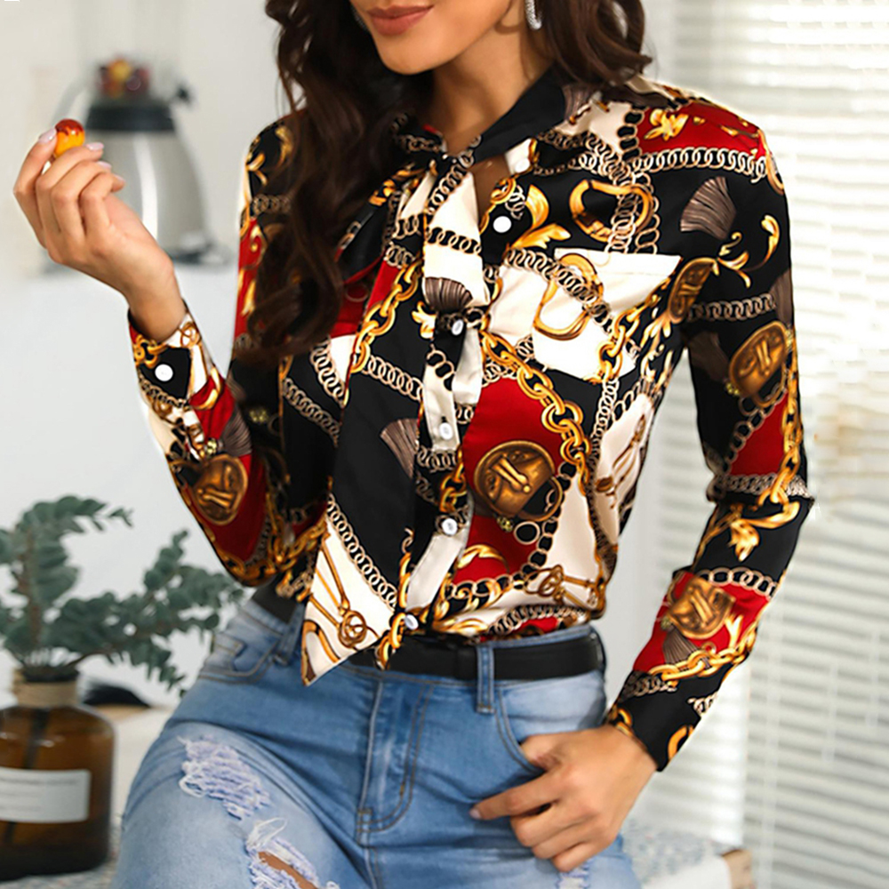 2020 Spring Women Lace Up Bow Buttons Shirt OL Style Office Ladies Chain Print Blouses Long Sleeve Chiffon Blouse