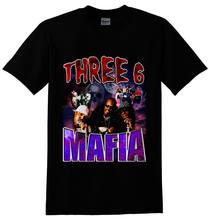 Três 6 mafia hip hop rap preto t camisa nova chegada verão estilo manga curta lazer moda verão engraçado t camisas para homem