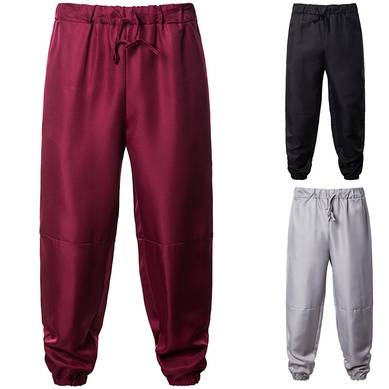 AliExpress Autumn And Winter Solid Color Ankle Banded Pants Hiphop Elastic Loose Casual Wide Leg Pants Athletic Pants Yk04