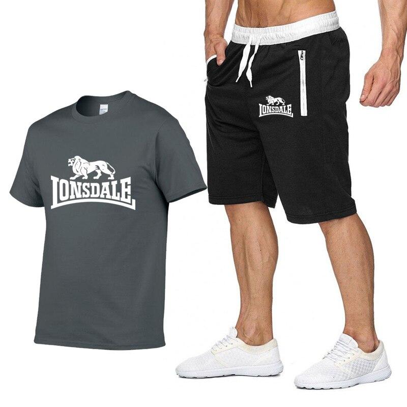 Men Summer LONSDALE Sportswear Sets Short Sleeve T-shirts+ Short Pants New Fashion Men Casual Sets Shorts+T-shirts 2 Pieces