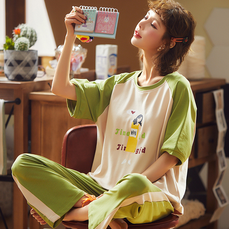 Pajamas Women's Spring Short Sleeve Trousers Korean-style Casual Tracksuit Summer Set Women's Spring And Summer Outer Wear Two-P