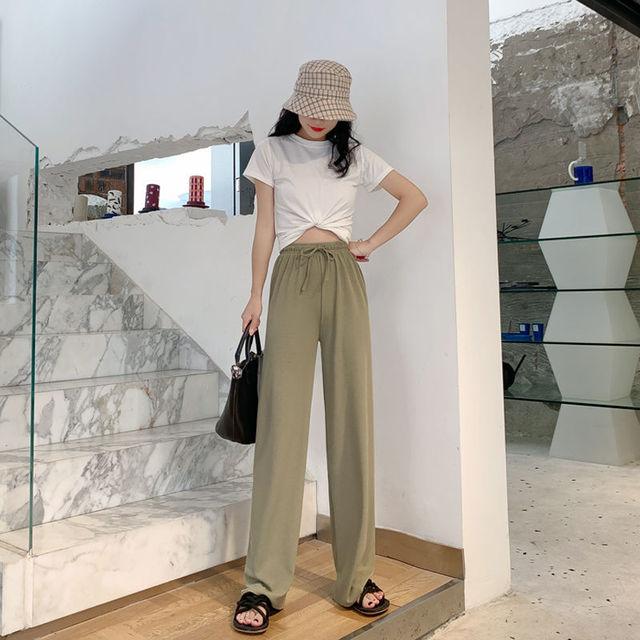 2021 New Women's Loose Summer Pants Soft Ice Silk Ankle-Length Wide Leg Pants Grey Khaki Women High Waisted long Trousers 3