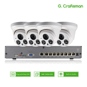Image 1 - 4ch 5MP POE Audio Kit Intelligent H.265 System CCTV Security NVR 5MP Indoor IR IP Camera Surveillance Video P2P G.Craftsman