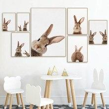 Kawaii floresta animal coelho lona cartaz do berçário arte da parede marrom coelho impressão pintura imagens nordic quarto criança decoração
