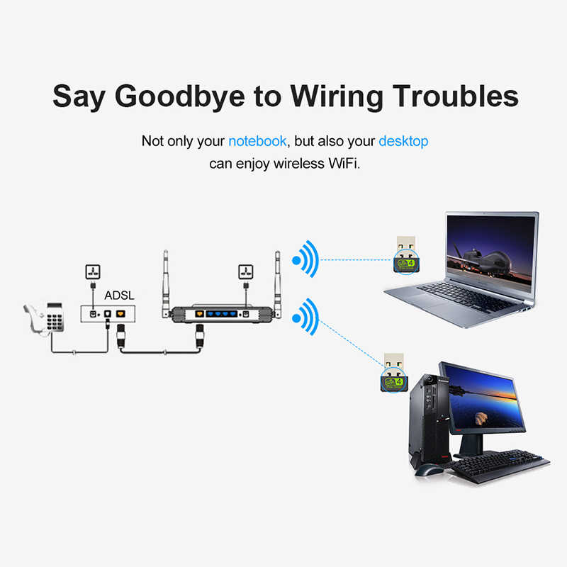 Adaptador USB Wifi USB Ethernet mt7601 Wifi Dongle Antena Wifi USB adaptador tarjeta de red 2,4G receptor Wifi PC USB Lan