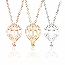 Charm Hot Air Balloon Necklace For Women Girls Female Hollow Out Enamel Chain Pendant Necklaces Choker Trendy Jewelry Gifts 2019 floral enamel hollow out pendant necklace