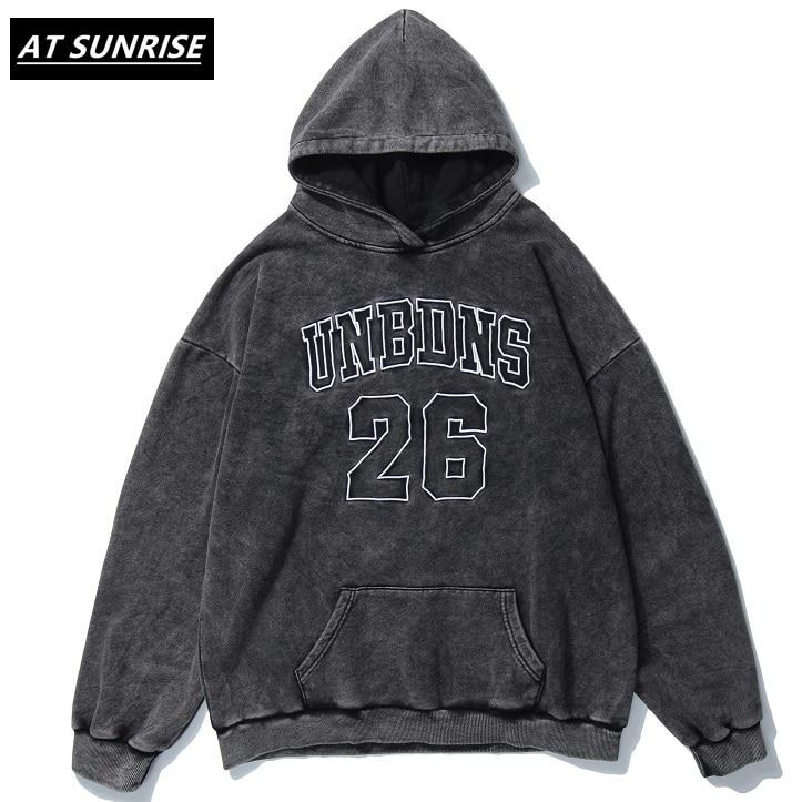 AT SUNRISE Oversized Hoodie Sweatshirt Men Hip Hop Streetwear Harajuku Washed Hooded Pullover Autumn Cotton Loose Hoodie Black