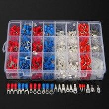 1000 pces 24 tipos de terminais de friso de fio de cabo elétrico kit conectores de extremidade de pino de cabo isolado spade garfo anel sortido conjunto