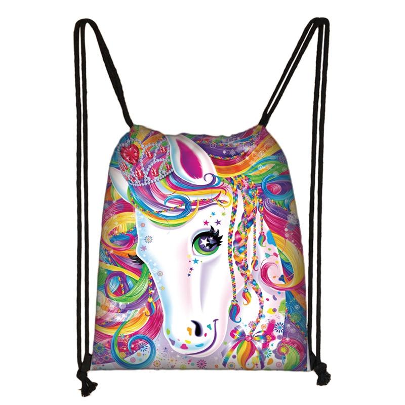Cute Unicorn Print Drawstring Bag Women Travel Bag Girl Causal Backpack Kids Storage Bags