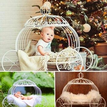 Accesorios de atrezos para fotografía de bebés recién nacidos accesorios de estudio de carro de calabaza de hierro accesorios de fotografía para sesiones de fotos de bebés posando sofá cama