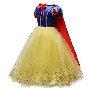 Платье Белоснежки для девочек; Костюм принцессы Беллы и Эльзы; Детские вечерние платья для костюмированной вечеринки; Disfraz; Детское платье н...